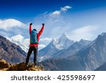 Hiker Cheering Elated Blissful Arms - Fine Art prints