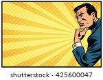 pensive man retro background... | Shutterstock .eps vector #425600047