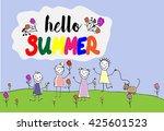 children group of kids. hello... | Shutterstock . vector #425601523