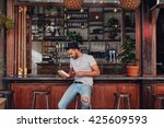 portrait of trendy young man... | Shutterstock . vector #425609593