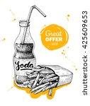 vector vintage fast food... | Shutterstock .eps vector #425609653