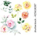 bouquet of roses. flowers set...   Shutterstock . vector #425618287