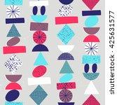 funny geometric seamless... | Shutterstock .eps vector #425631577
