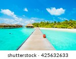 beautiful tropical beach and... | Shutterstock . vector #425632633