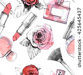 perfume with lipstick and... | Shutterstock . vector #425645437