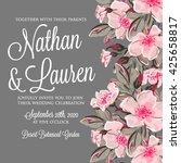 Stock vector wedding invitation card with romantic flower dog rose 425658817
