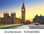 big ben and westminster bridge... | Shutterstock . vector #425660383
