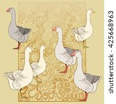 geese   vector pattern. use... | Shutterstock .eps vector #425668963