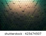 green honeycomb pattern. 3d... | Shutterstock . vector #425674507