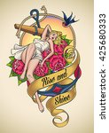 romantic old school tattoo... | Shutterstock .eps vector #425680333