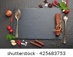 herbs and spices over black...   Shutterstock . vector #425683753