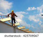 man working on the working at... | Shutterstock . vector #425709067