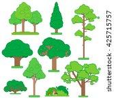 set of green trees and shrubs...   Shutterstock .eps vector #425715757