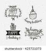 set of happy birthday icons.... | Shutterstock .eps vector #425721073