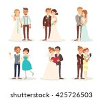 cute wedding couple bride and... | Shutterstock .eps vector #425726503