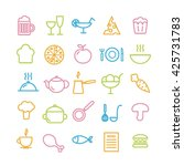 collection of 25 food linear... | Shutterstock .eps vector #425731783