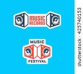 set of music themed badges  ... | Shutterstock .eps vector #425740153
