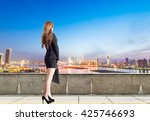 business woman in a commercial...   Shutterstock . vector #425746693