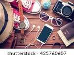 travel clothing accessories... | Shutterstock . vector #425760607