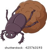 dung beetle with a big ball of... | Shutterstock .eps vector #425763193