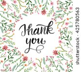 thank you   greeting card or... | Shutterstock . vector #425780563