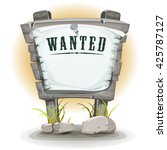 cartoon stone sign with wanted... | Shutterstock .eps vector #425787127