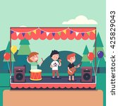 kids music band playing and... | Shutterstock .eps vector #425829043