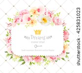 Stock vector square floral vector design frame orchid wild rose camellia flowers and fresh green leaves 425831023