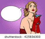 beautiful woman in red with a...   Shutterstock . vector #425836303