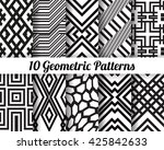 set of 10 abstract patterns.... | Shutterstock .eps vector #425842633