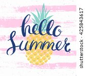 hello summer bright poster with ... | Shutterstock .eps vector #425843617