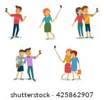 taking picture with smartphone...   Shutterstock .eps vector #425862907