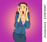 businesswoman screaming pain... | Shutterstock . vector #425878387