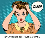 omg the woman in shock | Shutterstock . vector #425884957