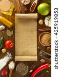 herbs and spices on wooden... | Shutterstock . vector #425919853