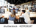 academic library student... | Shutterstock . vector #425928187