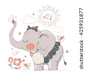 elephant in skirt. hand drawn... | Shutterstock .eps vector #425931877