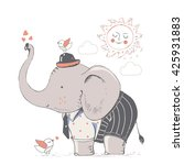 elephant in suit. hand drawn... | Shutterstock .eps vector #425931883