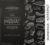 fast food menu drawn on the... | Shutterstock .eps vector #425935927