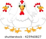 three cartoon hen | Shutterstock .eps vector #425960827