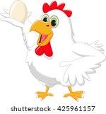 cartoon hen with egg