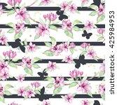 sakura flowers on the dark... | Shutterstock . vector #425984953