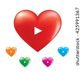 Set Of  Colorful Hearts Icon....