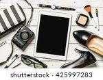 overhead view of essential...   Shutterstock . vector #425997283