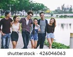 group of young people walking... | Shutterstock . vector #426046063