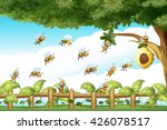 Scene With Bees Flying Around...