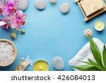 spa stones salt towel and leaf   Shutterstock . vector #426084013