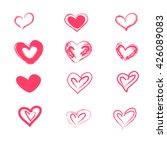 charcoal pink heart set on... | Shutterstock .eps vector #426089083