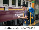 traveler wearing backpack...   Shutterstock . vector #426092413