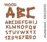wood font. old boards alphabet. ...   Shutterstock .eps vector #426123253